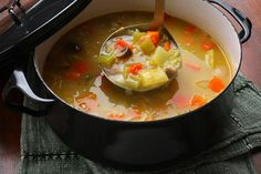 """Basic Vegetable Soup. In the frozen vegetable case of your market, look for """"Vegetables for Soup"""" and add to basic recipe for a quick soup."""