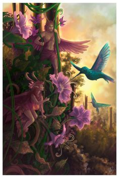 ✯ Magical Meeting  by ~StellaB✯  LOVE hummingbirds!  Symbols of love.....<3