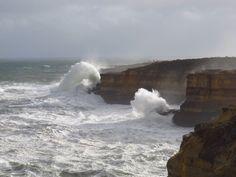 Huge waves and ocean spray...