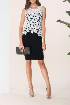 """Two tone Sleeveless Lace zip back peplum with black stretchy knee length skirt. Wear with a classic Pump and matching clutch. ( Size 10 Measurements) B35"""" x W30"""" x H36"""" x L41"""" Okra Floral Peplum by Noir by Sachin + Babi. Clothing - Dresses - Wedding Wear Clothing - Dresses - Cocktail South Carolina"""
