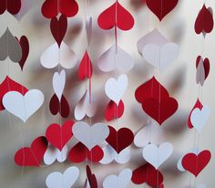 red and white heart garland
