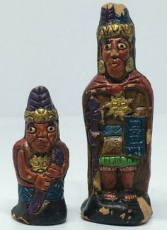 Antiques Vintage Red Indians 2 Man statue Hand Crafted Pottery Artifact Rare | eBay