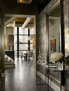 Stunning Entryway....Great wallpaper, mirror, console