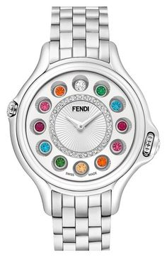 Fendi 'Crazy Carats' Diamond Dial Rotating Gemstone Bracelet Watch 33mm available at #Nordstrom