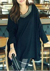 Chic Beaded Long Sleeve Scoop Neck Dress For Women