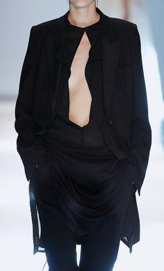 Black tunic dress & jacket, fashion details // Ann Demeulemeester Spring 2015