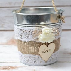 Personalized Flower Girl Bakset Rustic Wedding Flowergirl Basket Pail Burlap Baskets Wedding decor