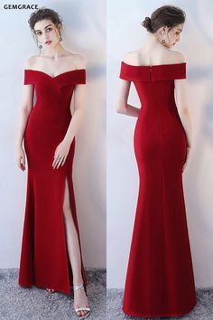 Burgunder Side Slit Mermaid Formal Dress Off Schulter # bei GemGrace. - - Burgunder Side Slit Mermaid Formal Dress Off Schulter # bei GemGrace. # 201 … – Source by ninakatharinaschmidt Simple Homecoming Dresses, Burgundy Homecoming Dresses, Prom Dresses, Formal Dresses, Long Dresses, Wedding Dresses, Graduation Dresses, Red Dress Outfit Wedding, Dress Party