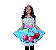 Apron   Women's Apron  Retro Cherry Apron with by OnceUponAPoodle, $48.95
