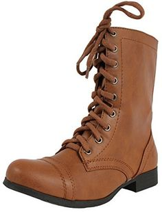 113e1591d Soda Women's Relax Faux Leather Military Combat Lace Up Boots , Tan, 55 M US