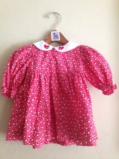 Vintage Handmade Red and White Heart Print Dress 12m $14