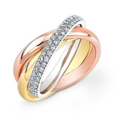 Rose gold, yellow gold, and white gold tri-color semi-eternity ring