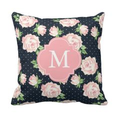 Pink and Blue Vintage Roses Pattern Monogrammed Throw Pillows