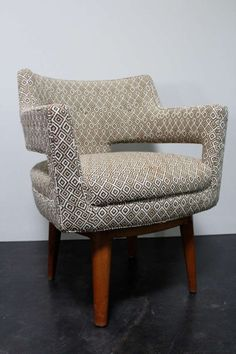 Edward Wormley; Swivel Armchair for Dunbar, 1940s.
