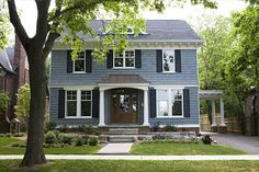 Blue house with dark blue shutters? House Paint Exterior, Exterior Paint Colors, Exterior House Colors, Paint Colors For Home, Exterior Design, Bungalow Exterior, Exterior Homes, Light Blue Houses, Grey Houses