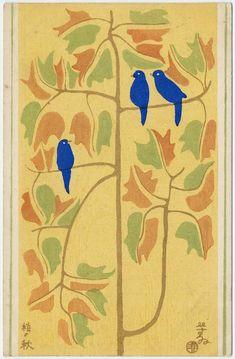 'Autumnal Branches.' Colour woodblock by Sugiura Hisui (1876–1965 ). Image and text courtesy MFA Boston.