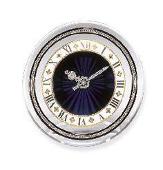 AN ART DECO ROCK CRYSTAL, DIAMOND AND ENAMEL DESK CLOCK, BY CARTIER