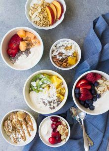 Yogurt Breakfast Bowls 7 Ways Dairy Free 7 simple dairy free Yogurt Breakfast Bowl recipes to start your day! With fruit granola nuts and chia seeds - mix and match toppings! Greek Yogurt Breakfast, Breakfast Bowls, Breakfast Recipes, Brunch Recipes, Breakfast Ideas, Power Breakfast, Breakfast Smoothies, Diet Breakfast, Fall Recipes