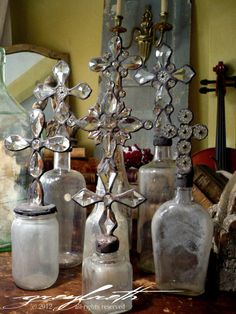 Love these rustic glass bottles