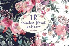 Seamless Watercolor Floral Patterns  by Aquarelle Art on @creativemarket