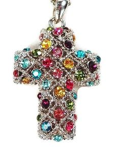 Puffy Cross Pendant Necklace with Colored Crystals #Pendant