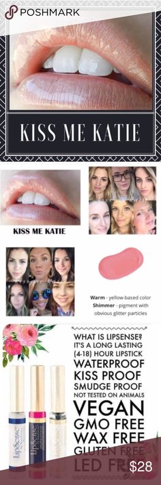 NWT. Kiss Me Katie LipSense 💄Brand new, sealed liquid lipcolor. Lipsense by Senegence.  💋Kiss Proof, Smudge Proof, Long Lasting Lipcolor (Lasts 4-18 hours!) Try it! You won't be disappointed.  💥FIRM PRICE for all Lipsense items on Posh 💕First time? Get a starter kit (color, gloss, & oops remover). Colors need to be worn w/a gloss for maximum effectiveness. ✅Interested in being a distributor? $55 to join! No monthly min, 50% off products for you 1st 30 Days!  ✅Want more info? Comment…