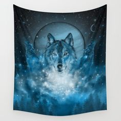 Wolf In Blue Bed Throw Blanket by Bekim Art - x Blanket Blue Tapestry, Wall Tapestry, Space Tapestry, American Indian Dog, Native American, Saarloos, Blue Shower Curtains, Bathroom Curtains, Blue Throws