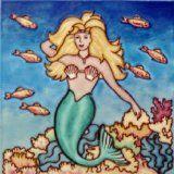 "Mermaid Ceramic Wall Art Tile 4""x4"" $14.95 www.mermaidhomedecor.com"