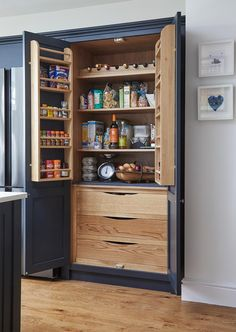 Small Kitchen Storage Tips, Solutions & Advice Kitchen Cupboard Storage, Larder Cupboard, Above Kitchen Cabinets, Small Kitchen Storage, Kitchen Worktop, Kitchen Cabinet Doors, Upper Cabinets, Kitchen Shelves, Storage Spaces