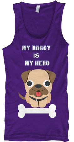 My Doggy  Is  My Hero Purple Tank Top Front