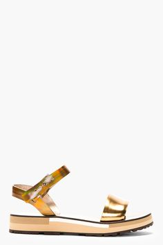 Lanvin Golden Leather Wood-paneled Sandals for women | SSENSE