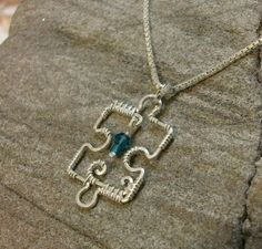 Handmade Sterling Silver Wire Puzzle Piece with by MystikCritterZ, $22.00