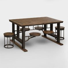 Galvin Cafeteria Table -  Beautifully crafted of lenga wood and metal, it features four stools that swivel underneath the table for convenient storage