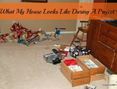 Don't you LOVE the way a room looks when you have worked hard on a project? Come see what a professional organizer's house looks like during a project!