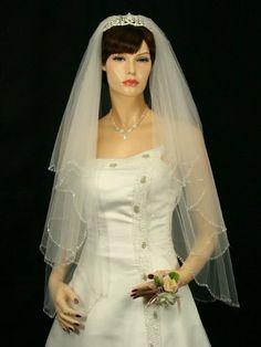 "2T 2 Tier Beaded Scallop Edge Bridal Wedding Veil - Ivory Fingertip Length 36"" V171, http://www.amazon.com/dp/B008NE2UW6/ref=cm_sw_r_pi_awdm_GVV8sb0BMQGYW"