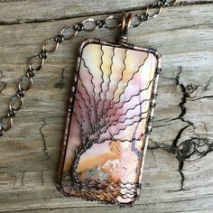 Beautiful Soft Rose and Yellows in this Extra Large Polychrome Jasper Antique Copper Wire Wrapped Tree of Life Pendant Handcrafted by Ann White.  This pendant is Extra Large and measures 3 inches from