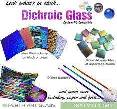 New Dichroic Glass has arrived in store, in many different forms, colours and patterns! All System 96 compatible 😍 Dichroic Glass, Fused Glass, Kiln Formed Glass, Glass Supplies, Mosaic Tiles, Perth, Glass Art, Colours, Patterns