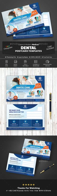 Buy Dental Postcard Template by Creative-Touch on GraphicRiver. This Post Card Template is perfectly suitable for promoting your Business. You can also use this template in multipur. Medical Health Care, Dental Care, Dental Logo, Postcard Template, Promote Your Business, Print Templates, Make You Smile, Photoshop, Invitations