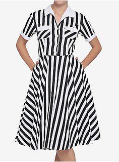 Black White Striped Dress, Black White Stripes, Black And White, Nice Dresses, Girls Dresses, Retro Diner, Professional Dresses, Collar Dress, Stripes Design