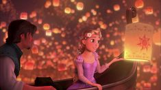 Rapunzel coming in contact with the lantern sent up by the king and queen...