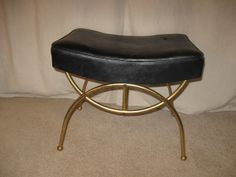 Vintage Mid Century Modern Black Naugahyde Brass Toned Metal Ottoman Bench Stool