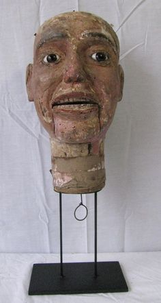 Antique Folk Art Hand Carved Wooden Ventriloquist Dummy Head from north2southantiques on Ruby Lane