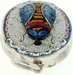 Victorian Sterling 3-Dimensional Micro Mosaic Scarab Pendant