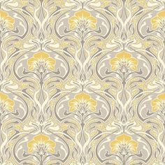 Grey and Yellow Retro Floral Wallpaper Art Deco Flora Nouveau by Crown Iphone Wallpapers, Desktop Hd, Backgrounds Wallpapers, Floral Wallpapers, Metallic Wallpaper, Grey Wallpaper, Paper Wallpaper, Wallpaper Roll, Hallway Wallpaper
