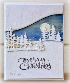 handmade Christmas card from Rapport från ett skrivbord: Pyssloteket . Christmas Cards 2018, Homemade Christmas Cards, Xmas Cards, Homemade Cards, Handmade Christmas, Holiday Cards, Christmas Crafts, Snowy Christmas Tree, Memory Box Dies