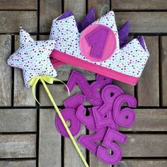 Pack corona y varita para cumpleaños y cumplemes!! Números intercambiables y…