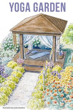 """"""""""" Tranquil yoga garden """""""" Create a beautiful yoga retreat in your own backyard with our exclusive garden design plan """""""" Zen Garden Design, Garden Design Plans, Landscape Design, Landscape Plans, Yoga Garden, Meditation Garden, Meditation Space, Garden Beds, Magic Garden"""