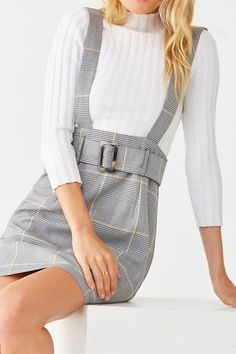 Style a pinafore dress by pairing it with a high collar, such as a turtleneck (Glen Plaid Pinafore Dress Pop Punk Fashion, Denim Fashion, Girl Fashion, Lolita Fashion, Fashion Boots, Emo Dresses, Casual Dresses, Fashion Dresses, Party Dresses