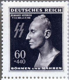Stamp with image of Heydrich's death mask