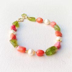 Coral Green Pearl Bracelet Gold Jewelry Peridot by jewelrybycarmal, $69.00